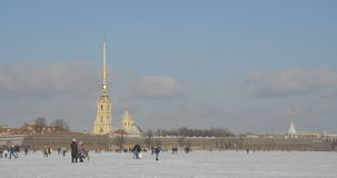 Peter and Paul Fortress in winter stock video