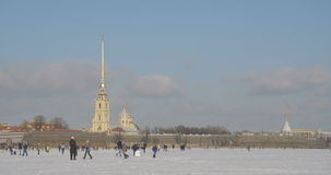 Peter and Paul Fortress in winter stock video footage