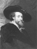 Peter Paul Rubens. (1577-1640) on engraving from the 1800s. Flemish Baroque painter. Engraved by J. Pofselwhite and published in London by Charles Knight, Pall Stock Photography