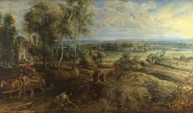 Peter Paul Rubens - en sikt av Het Steen i ottan royaltyfria bilder