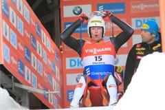 Peter Penz - luge. Peter Penz from Austria in men's singles luge race held in Altenberg in Germany on 21.2.2015 Stock Images