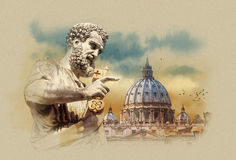 Peter's Basilica, the sculpture of St. Peter, Vatican, Italy, watercolor sketch. Watercolor sketch Peter's Basilic Royalty Free Stock Photos