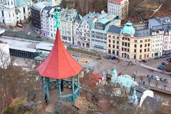Karlovy Vary aerial panorama, Czech Republic Stock Photo