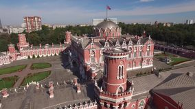 Peter`s Palace in Moscow. Famous historic landmark. Old Russian architecture. Unique aerial quadcopter view. From above stock video footage