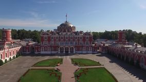 Peter`s Palace in Moscow. Famous historic landmark. Old Russian architecture. Unique aerial quadcopter view. From above 4k stock footage