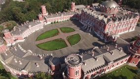 Peter`s Palace in Moscow. Famous historic landmark. Old Russian architecture. Unique aerial quadcopter view. Unique aerial quadcopter view. From above 4k stock video footage
