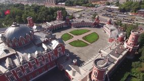 Peter`s Palace in Moscow. Famous historic landmark. Old Russian architecture. Unique aerial quadcopter view. 4k. Best stock video footage