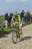 Peter Sagan- Paris Roubaix 2014. Carrefour de l'Arbre,France-April 13,2014: The Slovak cyclist Peter Sagan (Cannondale Team) riding on the famous cobblestone Stock Photo