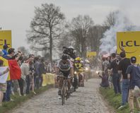Peter Sagan - Paris-Roubaix 2018. Templeuve, France - April 08, 2018: The triple road cycling world champion, Peter Sagan of Bora-Hansgrohe Team, leading the Royalty Free Stock Photos