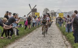 Peter Sagan - Paris-Roubaix 2018. Templeuve, France - April 08, 2018: The triple road cycling world champion, Peter Sagan of Bora-Hansgrohe Team, leading the Stock Photo