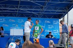 Peter Sagan 2013 Tour of California. Peter Sagan of Cannondale winner of the Green Jersey at the 2013 Amgen Tour of California on stage with Dave Towle and Brad Royalty Free Stock Image