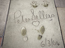 Peter Sellers handprints-footprints in Hollywood Royalty Free Stock Photo