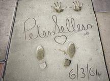 Peter Sellers-handprints-voetafdrukken in Hollywood royalty-vrije stock foto