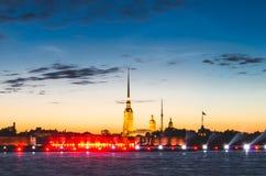 Peter- und Paul-Festung im Sonnenaufgang St Petersburg Stockfotos