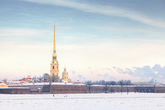 Peter und Paul Fortress im Winter, St Petersburg Stockfoto