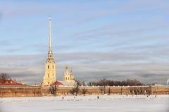 Peter und Paul Fortress im Winter, St Petersburg Lizenzfreies Stockbild