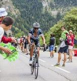 Peter Velits Climbing Alpe D'Huez Imágenes de archivo libres de regalías