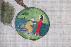 Peter verweigert Jesus vor den Hahnkrähen dreimal Lizenzfreie Stockbilder