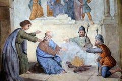 Peter verweigert Jesus vor den Hahnkrähen dreimal Stockfoto