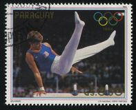 Peter Viomar, gold medalist at Summer Olympic Games in Los-Angel. RUSSIA KALININGRAD, 19 APRIL 2017: stamp printed by Paraguay, shows Peter Viomar, gold medalist Stock Photos