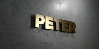 Peter - złoto znak wspinający się na glansowanej marmur ścianie - 3D odpłacająca się królewskości bezpłatna akcyjna ilustracja Zdjęcie Stock