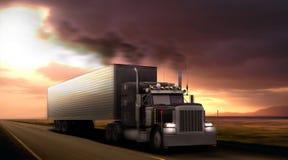 Peterbilt del camión en la carretera Foto de archivo libre de regalías
