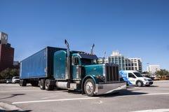 Peterbilt lastbil i Miami Arkivfoto