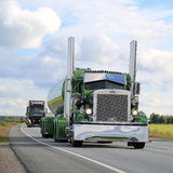 Peterbilt 359 Semi Tank Truck 1971 on the Road stock image