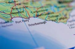 Peterborough на карте Стоковая Фотография