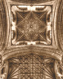Peterborough Cathedral The Crossing Tower Ceiling HDR Sepia Tone Stock Image