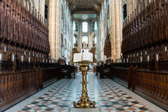 Peterborough Cathedral Lectern in Choir. England, Peterborough - May 25, 2016: Peterborough Cathedral Lectern in Choir stock photography