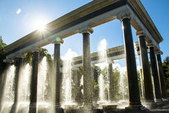 Petergof. Park with a lot of fountains in Petergof near Saint-petersburg Royalty Free Stock Photo