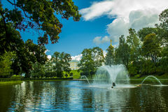 Petergof. Park with a lot of fountains in petergof near saint-petersburg Royalty Free Stock Photos