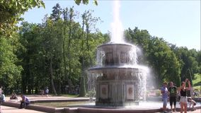The Petergof fountain park, Roman fountain. stock video footage