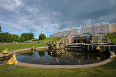 Petergof palace. Pond, architectural ensemble Royalty Free Stock Photography