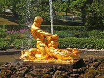 peterhof俄国 撕开嘴到一个海怪喷泉在Nizhny公园的氚核 免版税库存图片