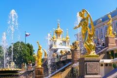 Peterhof宫殿在圣彼德堡,俄罗斯 库存图片