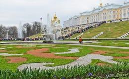 Peterhof宫殿,俄罗斯 免版税库存图片