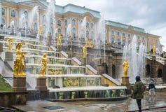 Peterhof,俄罗斯- 6月03 2017年 伟大的小瀑布喷泉 免版税图库摄影