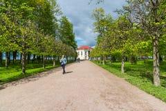Peterhof,俄罗斯- 6月03 2017年 亭子偏僻寺院和叶子胡同在更低的公园 免版税库存图片