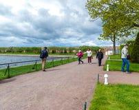 Peterhof,俄罗斯- 6月03 2017年 在Marlinsky金星附近池塘和庭院的游人  免版税库存图片