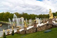 Peterhof,俄罗斯- 6月03 2017年 大小瀑布喷泉在Peterhof 库存照片