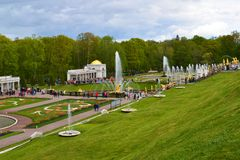 Peterhof,俄罗斯- 6月03 2017年 大摊位看法与喷泉的 免版税库存照片