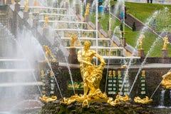 Peterhof,俄罗斯- 6月03 2017年 Samsons雕象看法在大小瀑布喷泉的 库存照片