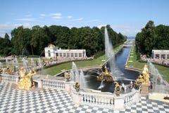 peterhof дворца фонтанов каскада грандиозное Стоковое фото RF