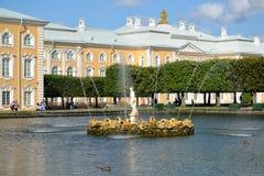 peterhof Россия Взгляд фонтанов квадратных прудов против грандиозного дворца Peterhof Верхний сад Стоковое Фото