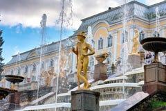 Peterhof, Россия - 15-ое августа 2008: Взгляд грандиозного дворца Peterhof, с фонтанами и золотыми статуями Стоковое Фото