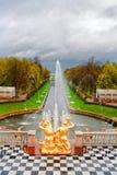 peterhof фонтанов каскада грандиозное Стоковая Фотография