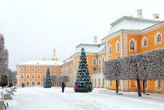 peterhof 俄国 在盛大宫殿附近的人们 免版税库存照片