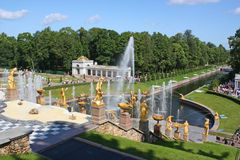 Peterhof. Abounds with fountains. Favourite vacation spot of inhabitants of St.-Petersburg and tourists royalty free stock photo